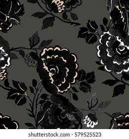 Seamless pattern decorative flowers on a colored background watercolor