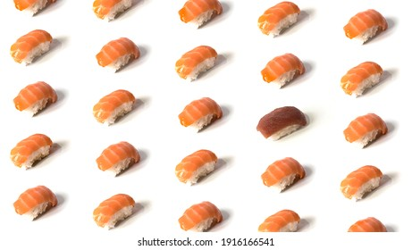 Seamless pattern of delicious nigiri isolated on white background. The pattern is broken with a tuna nigiri. Flat lay
