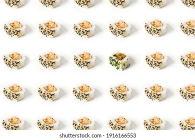 Seamless pattern of delicious sushi isolated on white background. Pattern is broken with sushi with chives. Layer plan