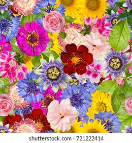Seamless pattern with different spring flowers. Background with sunflowers, hibiscus, pink rose, calendula, passiflora, cornflowers and other bright plants.