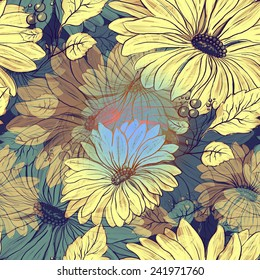 seamless pattern with digital flowers