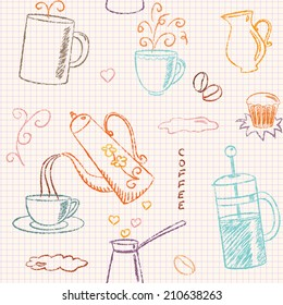 Seamless pattern with doodle coffee items on checkered paper
