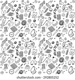 Seamless pattern with doodles handmade icons. Black and white illustration.
