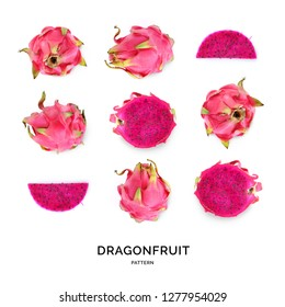 Seamless pattern with dragonfruit. Abstract background. Pitaya on the white background.