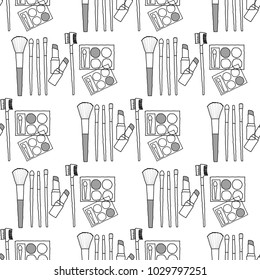 seamless pattern drawing cosnetic product on white background