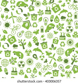 Seamless pattern with Eco Icons in flat style. Ecology, Nature, Energy, Environment and Recycle Icons. Green icons on white background for your design. Raster illustration.