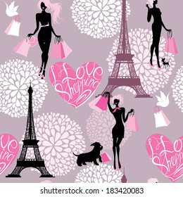 Seamless pattern - Effel Tower, hearts with calligraphic text I Love Shopping, girls silhouettes with shopping bags - Background for fashion or retail design. Raster version