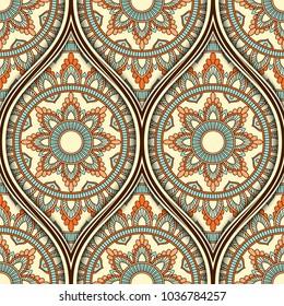 Seamless pattern with ethnic mandala ornament. Hand drawn illustration