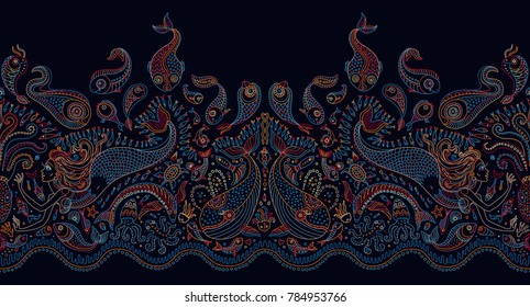 Seamless pattern. Fantasy mermaid, octopus, fish, sea animals colorful contour thin line drawing with ornaments on a dark indigo blue background. Embroidery border,wallpaper fringe, textile print