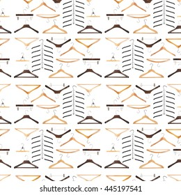 """Seamless pattern for fashion - various wooden and metal closing hangers on white background, idea """"nothing to wear again"""""""