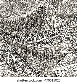 Seamless pattern with feathers, leaves, flower stamens.  Feathers Monochrome background. Zentangle feathers hand drawn Doodle style. Feathers pattern. Feathers background.
