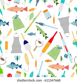 Seamless pattern of fishing icons.