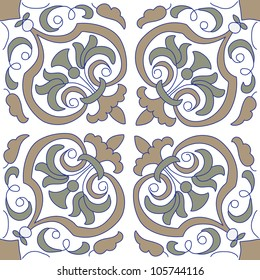 Seamless pattern with floral motifs on gradient background.