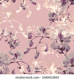 Seamless pattern. Floral watercolor background blooming orchids