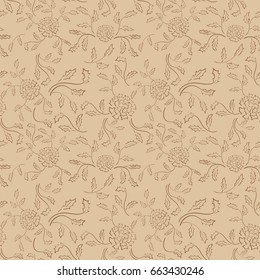 seamless pattern with flowers - beige background