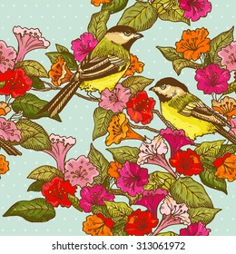Seamless Pattern - Flowers and  Birds - for design and scrapbook