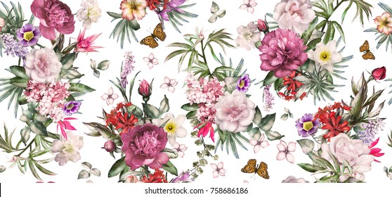 Seamless pattern with flowers and exotic leaves on white background.  floral pattern for wallpaper or fabric. Flower rose and peonies. Botanic Tile.