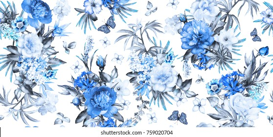 Seamless pattern with flowers and exotic leaves on white background. blue floral pattern for wallpaper or fabric. Flower rose and peonies. Botanic Tile.