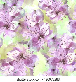 Seamless pattern with flowers. Floral watercolor seamless background. Textile print for bed linen, jacket, package design, fabric and fashion concepts.