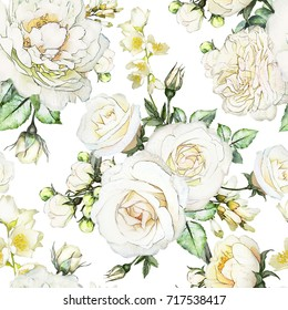 Seamless Pattern With Flowers And Leaves On White Background Watercolor Floral Flower Rose