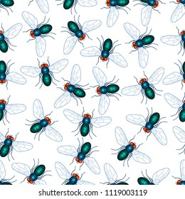 Seamless pattern of the fly insects
