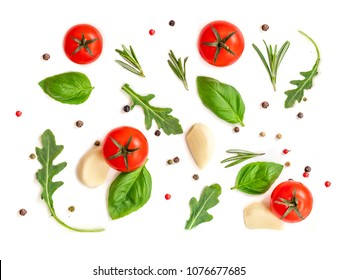 Seamless pattern with fresh vegetables, herbs and spices. Isolated on white background. Top view