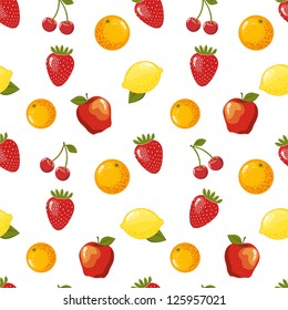 Seamless pattern with fruits. Raster version, vector file available in portfolio.