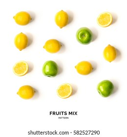 Seamless pattern with fruits. Tropical abstract background. Lemon and apple on white background.