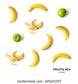 Seamless pattern with fruits. Tropical abstract background. Banana and apple on white background.