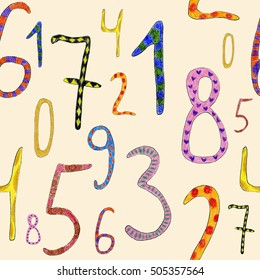 Seamless pattern of funny numbers. Learn to count numbers. Funny cartoon childish illustration.