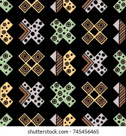 Seamless  pattern. Geometrical background with hand drawn decorative tribal elements in vintage brown colors. Print with ethnic, folk, traditional motifs. Graphic illustration.