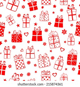 Seamless pattern of gift boxes, flowers and hearts, red on white