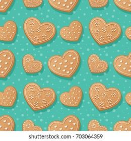 Seamless pattern with gingerbread hearts. Illustration
