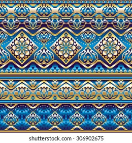seamless pattern with gold and blue silk Turkish ornament