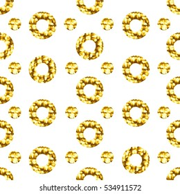 Seamless pattern with gold shine glitter dots on white background. For wrap, wallpapers, backgrounds and scrapbooks. Art raster illustration