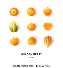 Seamless pattern with golden berry. Fruits abstract background. Golden berry on the white background.