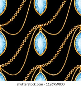 Seamless pattern with golden chains and gemstones on black background. Illustration