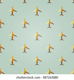 Seamless pattern with golden hand-painted airplanes in vintage colors
