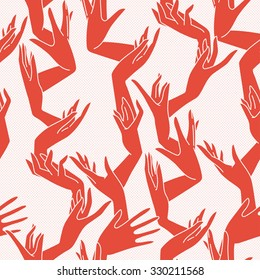 Seamless pattern of graceful female hands bound similar to coral branches