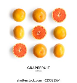 Seamless pattern with grapefruit. Tropical abstract background. Grapefruit on the white background.