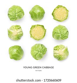 Seamless pattern with green cabbage on the white background.. Flat lay. Food concept.