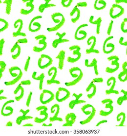 Seamless pattern with green hand drawn numbers.