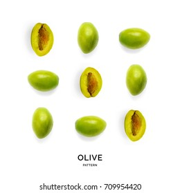 Seamless pattern with green olives. Vegetables abstract background. Olive on the white background.