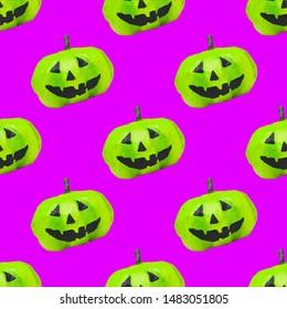 seamless pattern of green pumpkins on Halloween on purple background