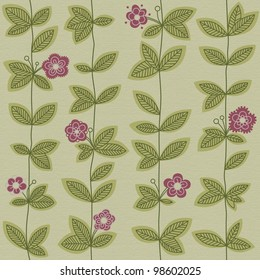 Seamless pattern with growing leaves and flowers