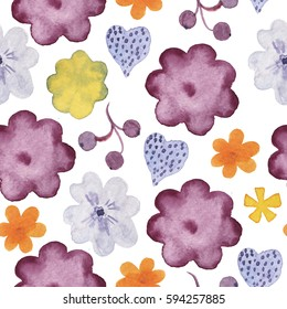 Seamless pattern with hand drawn colorful watercolor flowers, herbs and berries on white background.