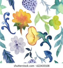 Seamless pattern with hand drawn colorful watercolor flowers, herbs on white background.