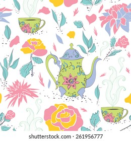 Seamless pattern with hand drawn tea mug and teapot with floral pattern surrounded by flowers and tea leaves.