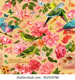 Seamless pattern with hand drawn watercolor birds, flowers and butterflies, scraps of stylized pieces of old texts and postage stamps; on toned background; vintage style wallpaper design