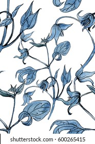 Seamless pattern with hand drawn watercolor  in blue colors.